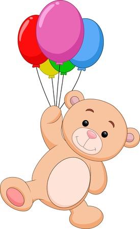 bear doll: Cute bear cartoon with balloon Illustration