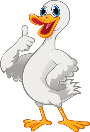 duck: Cute duck cartoon with thumb up