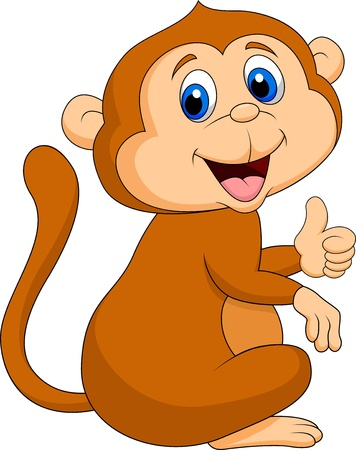 Cute monkey cartoon thumb up photo