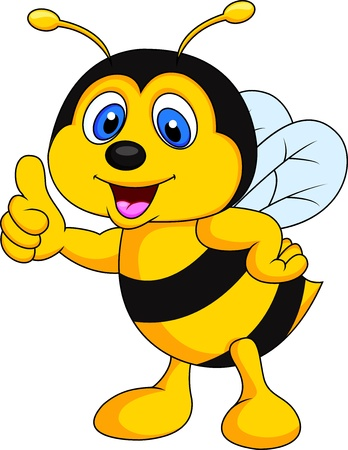Bee cartoon thumb up photo