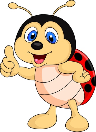 ladybug cartoon: Cute ladybug cartoon thumb up Stock Photo
