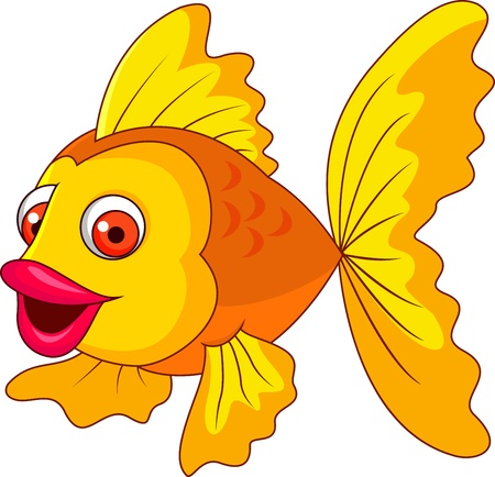 Cute golden fish cartoon Stock Photo - 19287932