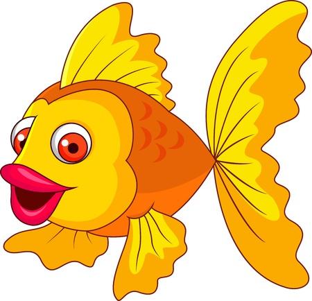 golden fish: Cute golden fish cartoon