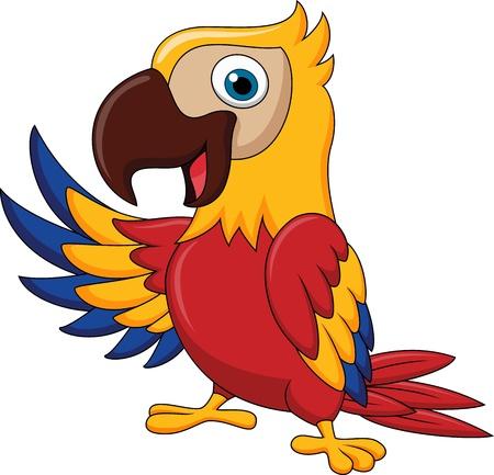guacamaya caricatura: Macaw agitando la historieta del pájaro
