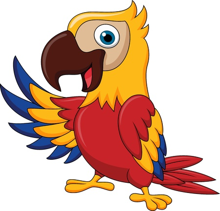 Macaw bird cartoon waving photo