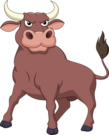 frenzied: Strong bull cartoon Stock Photo
