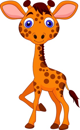 Cute baby giraffe cartoon photo