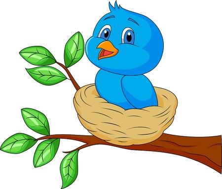 bird drawing: Blue bird cartoon in the nest Stock Photo