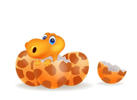 Cartoon illustration of a baby dinosaur hatching Vector
