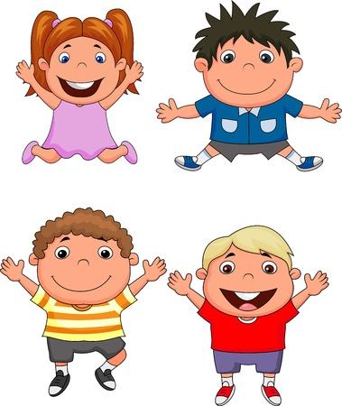 persona alegre: Caricatura de niños felices Vectores