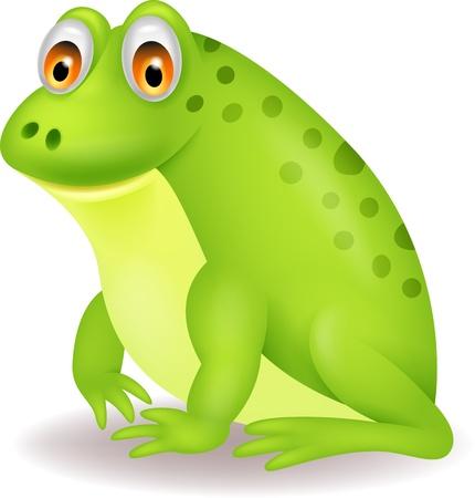 croaking: Cute green frog cartoon