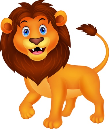 lion dessin: Cute cartoon marche lion Illustration