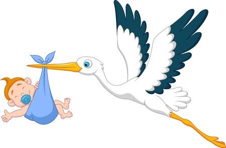 Cigogne avec le garçon bébé de bande dessinée Vecteurs