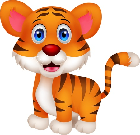 kitten small white: Cute baby tiger cartoon