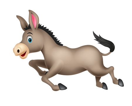 Cute donkey cartoon running Illustration