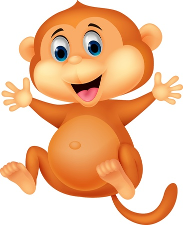 Cute monkey cartoon Stock Vector - 19583326