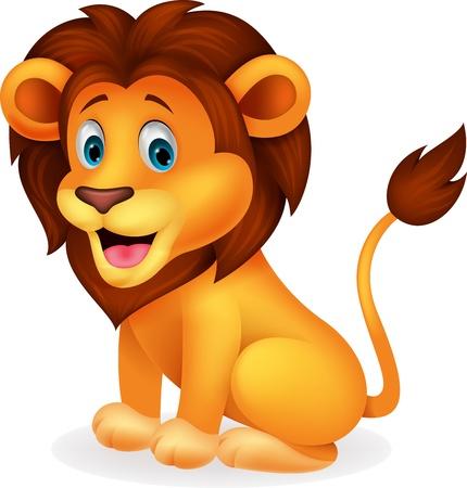 lion drawing: Leone carino cartone animato Vettoriali