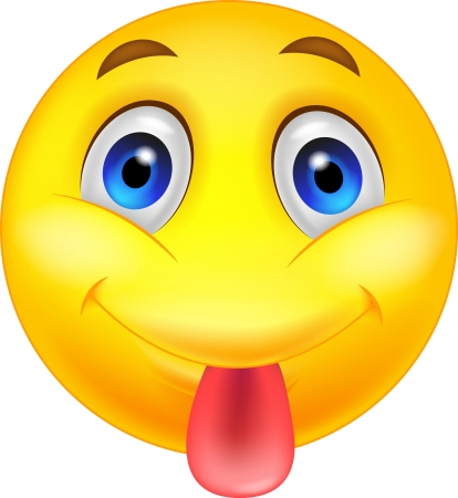Smiley emoticon cartoon sticking out his tongue Vector