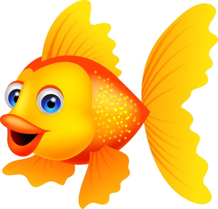 Golden fish cartoon Vector
