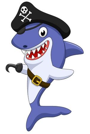 tiburon caricatura: Lindo de dibujos animados pirata tibur�n