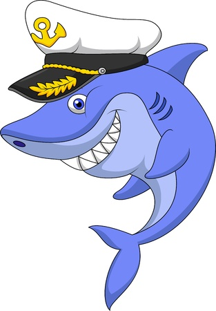 Shark captain cartoon Vector