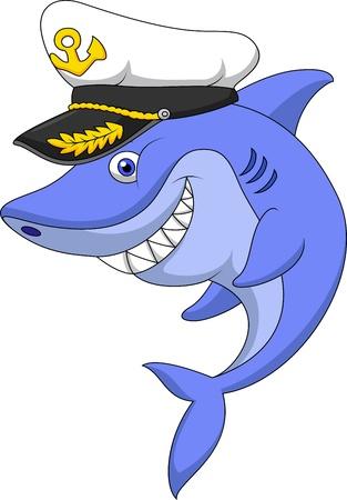 Shark captain cartoon Stock Vector - 19583245