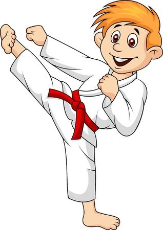 judo: Dibujos animados Chico haciendo artes marciales Vectores