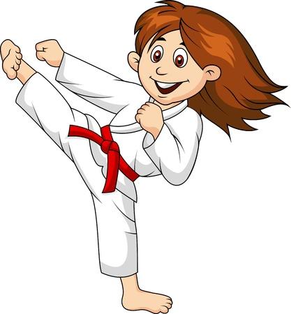 patada: Chica de dibujos animados haciendo artes marciales Vectores