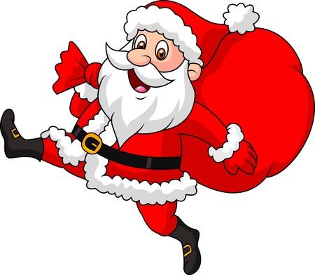 weihnachtsmann lustig: Weihnachtsmann Cartoon l�uft mit dem Beutel der Geschenke