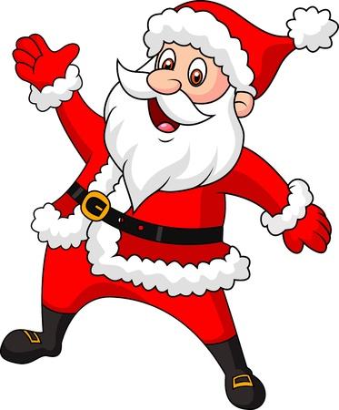 산타 클로스: 산타 클로스 만화 손을 흔들며 일러스트