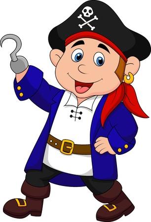 skull character: Cute pirate kid cartoon