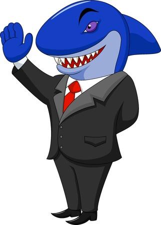 intimidate: Business shark cartoon Illustration