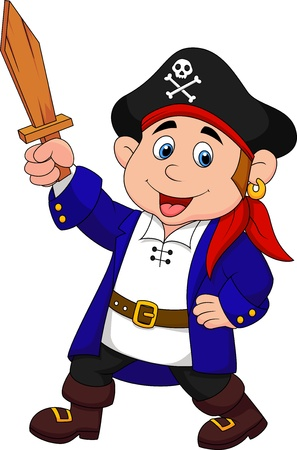 Pirate boy cartoon Vector