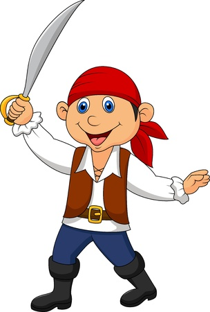 Cute pirate kid cartoon