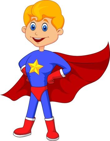 super human: Historieta Superh�roe ni�o Vectores