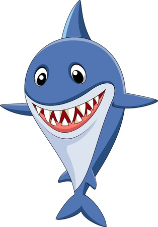 big mouth: Cute shark cartoon Illustration