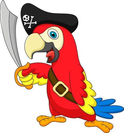 sombrero pirata: Loro de la historieta linda del pirata