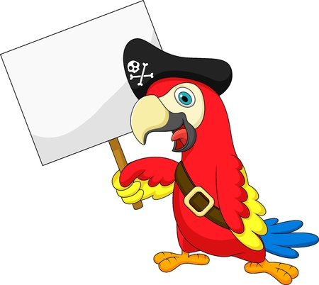 Parrot pirate cartoon with blank sign Stock Vector - 19583252