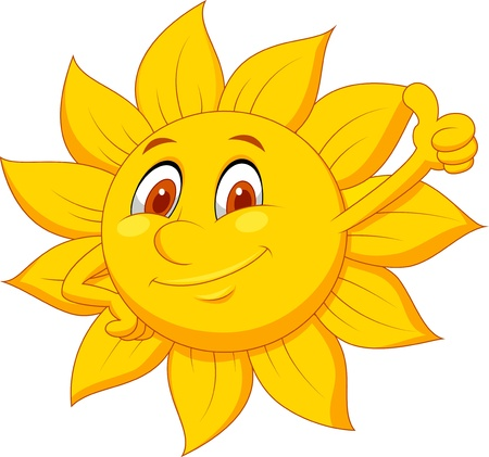 sun glasses: Sun cartoon character with thumb up
