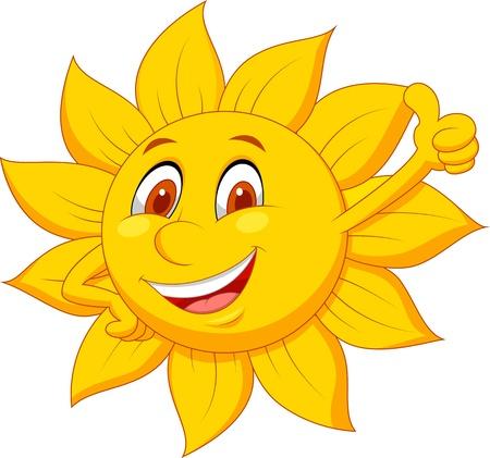 sol caricatura: Personaje de dibujos animados de Sun con el pulgar arriba