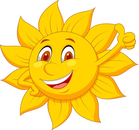 sun icon: Sun cartoon character with thumb up