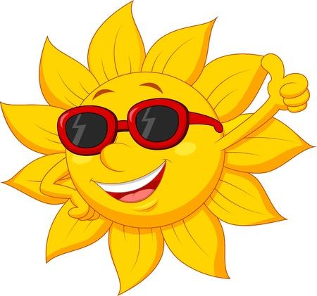 pulgar levantado: Personaje de dibujos animados de Sun con el pulgar arriba