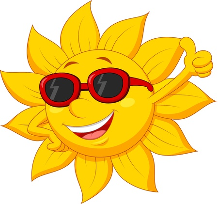 sun glasses: Sun cartoon character with thumb up
