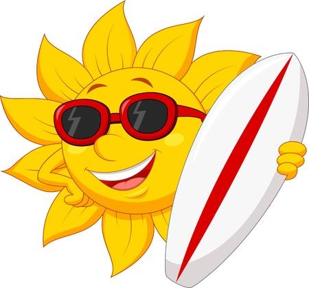 sol caricatura: Personaje de dibujos animados lindo del sol con tabla de surf Vectores