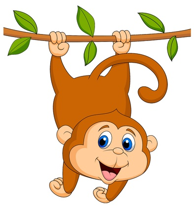 thumping: Cute monkey cartoon hanging Illustration