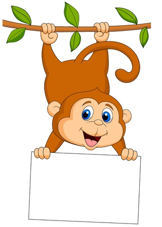 thumping: Cute monkey cartoon with blank sign