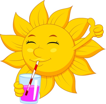 Sun cartoon character drinking Illustration