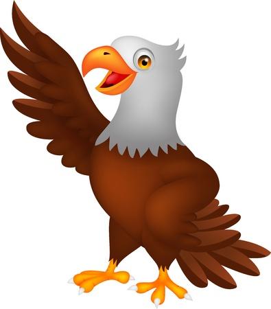 dignity: Eagle cartoon waving