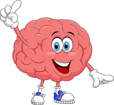 anatomy brain: Carino cervello personaggio dei cartoni animati di puntamento