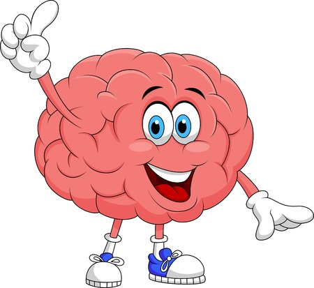 psychological: Cute brain cartoon character pointing